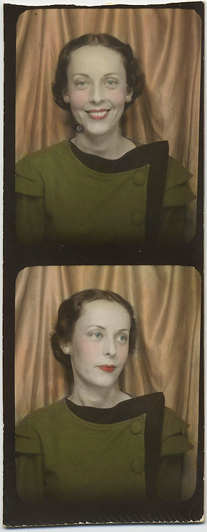 LOVELY HAND TINTED HAND COLORED PHOTOBOOTH STRIP HANDSOME WOMAN w DECO TOP
