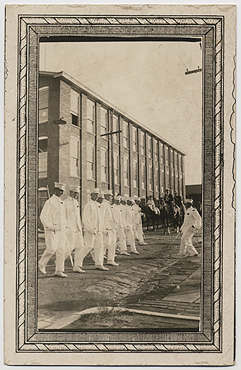 RPPC OFFICERS in WHITE MARCH PARADE in front of BARRACKS DECORATIVE BORDER