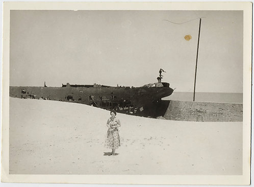WOMAN on BEACH w SHIPWRECK BLINDING SAND GRAPHIC STARK