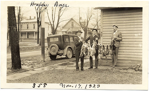 """HAPPY BOYS"" w THEIR HUNTED DEAD RABBITS PHEASANTS & VINTAGE CAR! CAPTION"