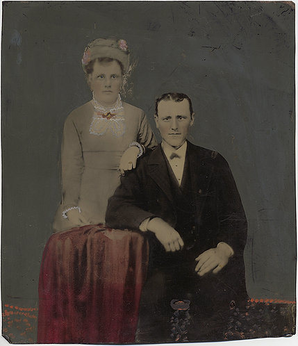 Painted Full Plate Tintype: EXTRAORDINARY HUSBAND & WIFE OVERSIZE