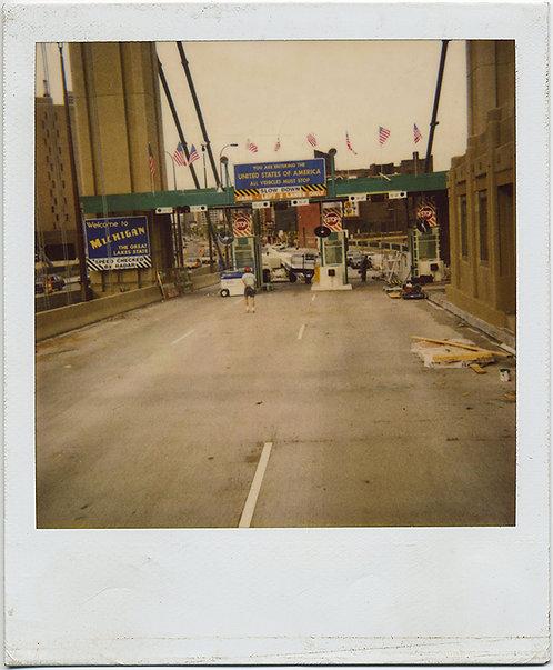 POLAROID! WELCOME TO MICHIGAN!  BORDER BRIDGE toll booth CROSSING!