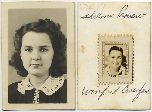 VERY UNUSUAL SMALL SCHOOL PHOTO of PRETTY GIRL w BOYFRIEND's STAMP PHOTO on REAR