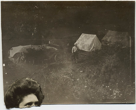 UNUSUAL HEAD of WOMAN COLLAGED onto PICTURE of MEN CAMPSITE TENTS