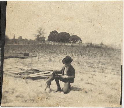 GORGEOUS LITTLE BOY in HAT & PET DOG on BARREN FARM FIELD