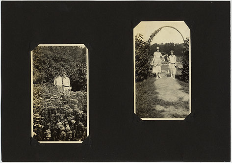ALBUM PAGE INTIMATE WOMEN HOLD HANDS in the GARDEN AFFECTIONATE LESBIAN INT