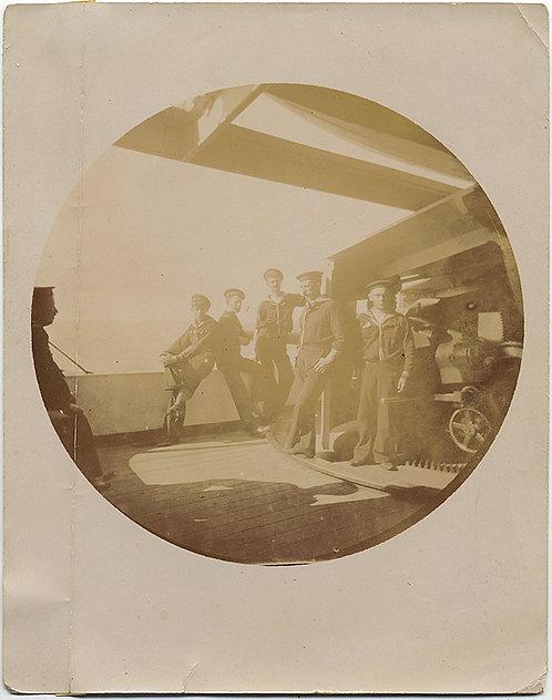 UNMOUNTED EARLY KODAK #2 SAILORS MARINES on BOARD SHIP
