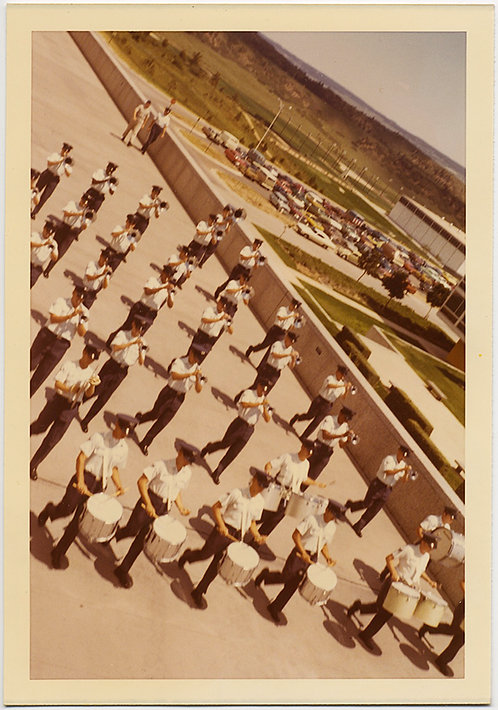 GREAT COMPOSITION MARCHING BAND PLAYS in FORMATION at AIR FORCE ACADEMY COLORADO