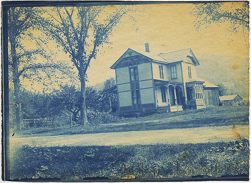LOVELY LARGE CYANOTYPE OF HOUSE/HOMESTEAD and BARN