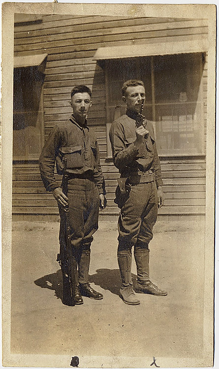 EARLY SOLDIERS STAND AT the READY w RIFLE & GUNS