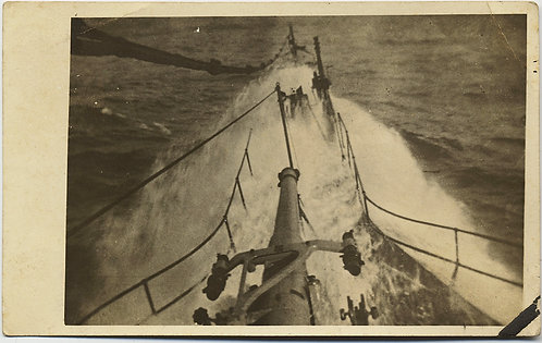 EXTRAORDINARY RPPC WAVES BREAK OVER BOW of EARLY SUBMARINE? GUN TURRET