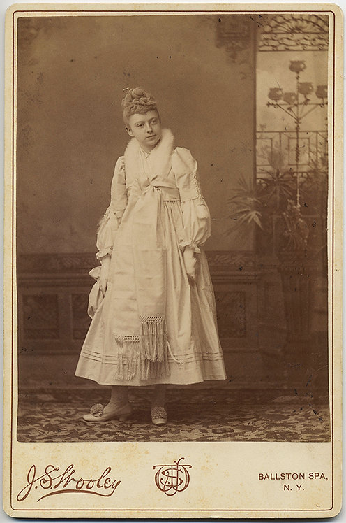 GORGEOUS CABINET CARD of WOMAN IN ELABORATE WHITE fancy? DRESS Lovely Backstamp