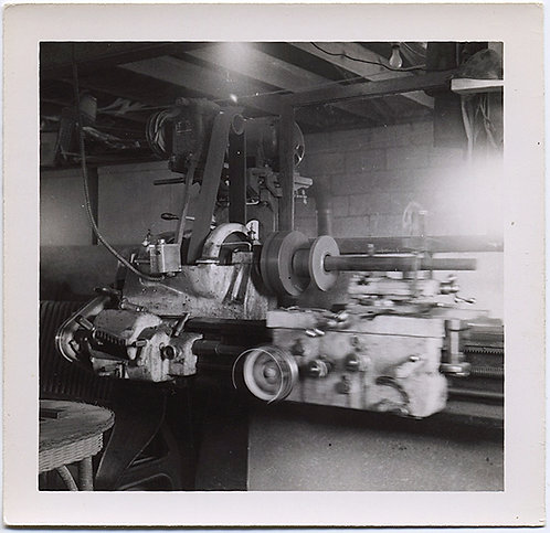 """Bill's Lathe"" VERNACULAR INDUSTRIAL LATHE MECHANICAL EQUIPMENT in WORKSHOP 1950"