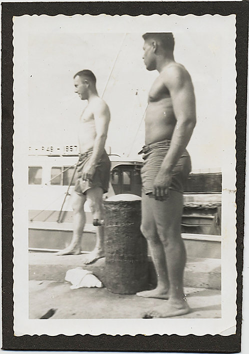 HUNKY SHIRTLESS MEN ROUGH TRADE  READY to WORK on BOATS