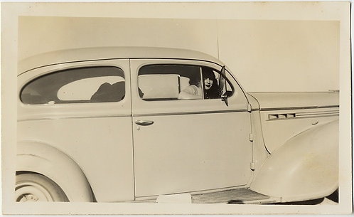 STUDY in PALE!  Almost ABSTRACT WOMAN at WINDOW of VINTAGE CAR!