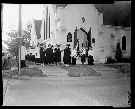 4x5 NEGATIVE PRESS PHOTO CHURCH GATHERING PROCESSION ST JOHN'S ACOLYTE FESTIVAL