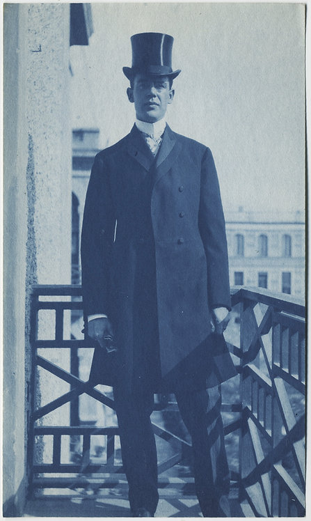 SUPERB RICH CYANOTYPE of ELEGANT MAN in TOP HAT on BALCONY