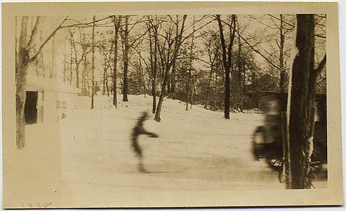 VINTAGE THRILLS! SKIER ATTACHED to VINTAGE CAR X-COUNTRY SKIING MOVEMENT BLUR!