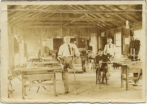 UNUSUAL WOODSHOP OVERSEEN by AMUPTEE MAN MISSING LIMBS LEGS WORKERS EDISON BULBS
