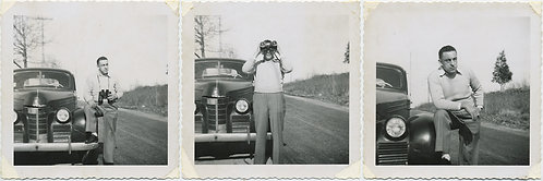 MAN PARKS VINTAGE CAR LOOKS thru BINOCULARS! PHOTO NARRATIVE STORY