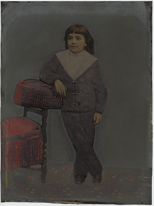 Painted Full Plate Tintype: Boy with Posing Chair