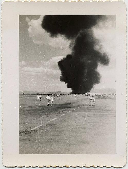 WHERE THERE'S SMOKE... BLACK SMOKE BILLOWS AIRSHOW FIRE FIGHTING DISPLAY B-25