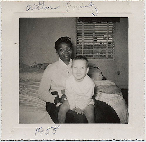 STOIC BLACK AFRICAN-AMERICAN NANNY with SMILING WHITE KID  Arthur? Family 1955