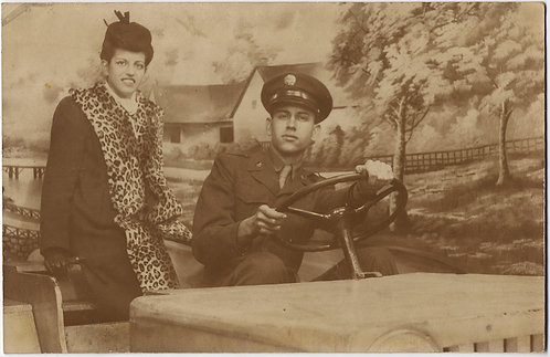NY CITY ARCADE IMAGE SERVICEMAN & GIRLFIREND in JEEP w PAINTED BACKDROP RPPC