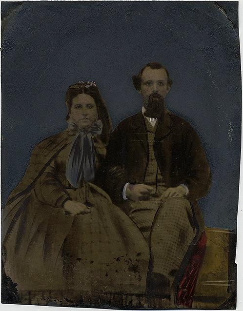 ELEGANT PORTRAIT FULL PLATE TINTYPE HAND PAINTED IMPRESSIVE FANCY COUPLE