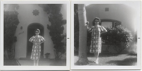 LADY of the HOUSE WOMAN POSES outside BUNGALOW in PATTERNED HOUSEDRESS CA? 2 pic