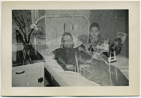 IN BED OUT of BED SOLEMN KID in DOUBLE EXPOSURE HOSPITAL