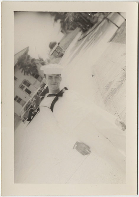 HANDSOME SEXY OFF-KILTER COCKY SMILING SAILOR in WHITE DUTCH ANGLE IMAGE GAY INT