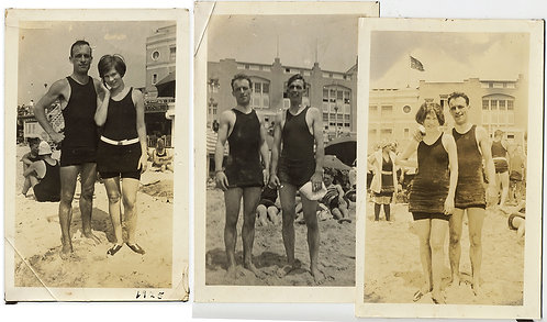 HUNKY BEACH COUPLES in VINTAGE SWIMSUITS 3 pix