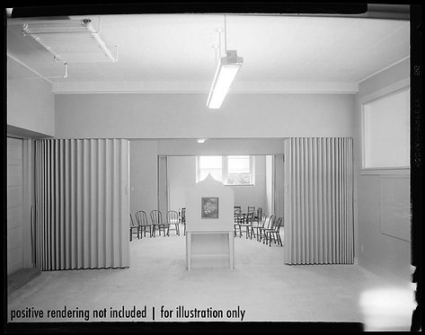 4x5 NEGATIVE PRESS PHOTO STUNNING BANAL CHURCH HALL INTERIOR READY for SERVICE