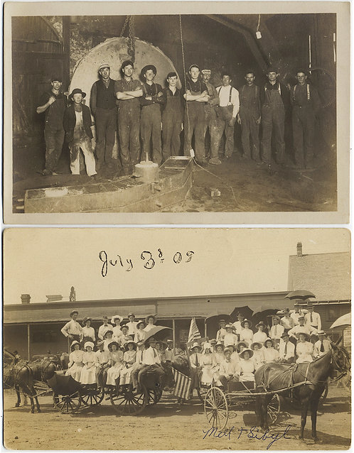 RPPC PATRIOTIC GROUP HORSE CARTS July 1909 INDUSTRIAL WORKERS 2 pics