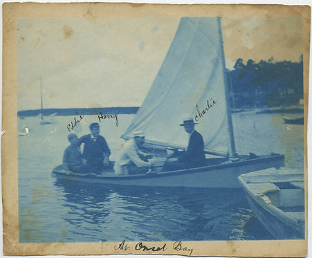GREAT CYANOTYPE of BOATERS at Onset Bay