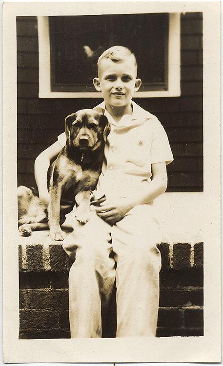 SUPERB BOY Jimmy w BIG EARS & PET DOG Bingo in CUTE ADORABLE CLASSIC PORTRAIT