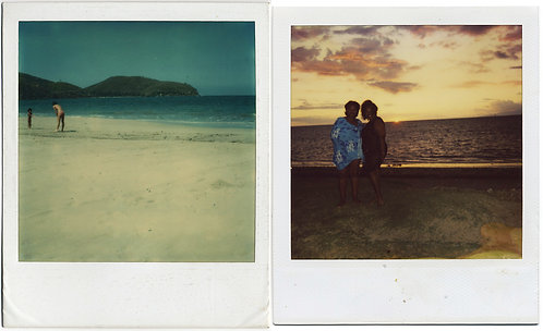 POLAROID BEACH DIPTYCH WOMEN at SUNSET & PLAYING w KID on SAND