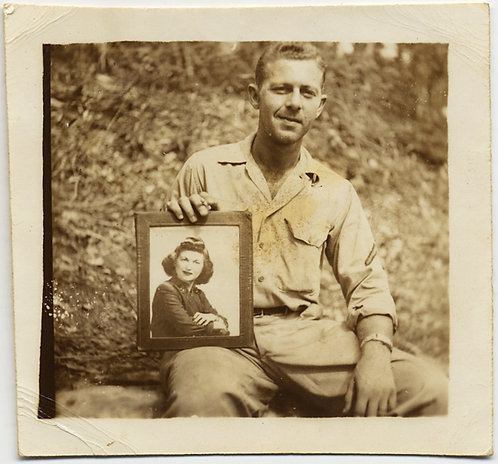SMIRKING MAN HOLDS PORTRAIT of WIFE or MOTHER OUT in the WOODS
