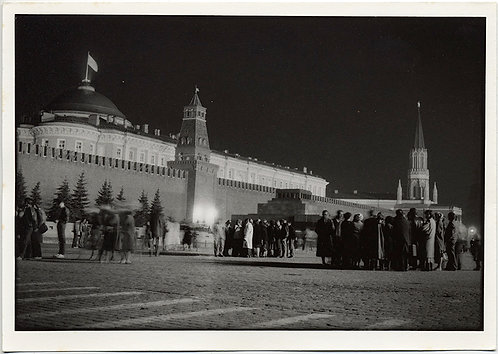 HORST SCHMECK RED SQUARE LENIN's TOMB KREMLIN at NIGHT SOVIET RUSSIA MOSCOW