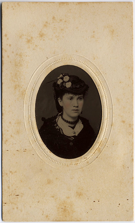 LOVELY TINTYPE in OVAL MAT YOUNG GIRL with FLOWERS in HAT and CHOKER TINTED