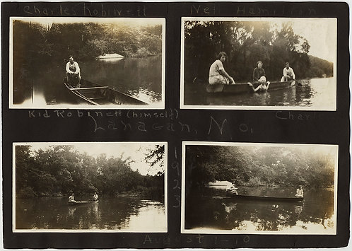 FANTASTIC ANNOTATED CAPTIONED ALBUM PAGE WOMEN SWIMMING & COUPLES BOATING 1923