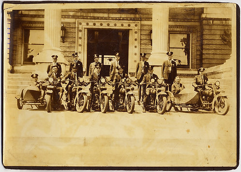 GROUP PHOTO VINTAGE MOTORCYCLES and SIDECARS in FRONT of POLICE STATION