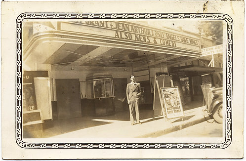 ELEGANT MAN POSES MOVIE MARQUEE Jean Arthur ONLY ANGELS HAVE WINGS Cary Grant