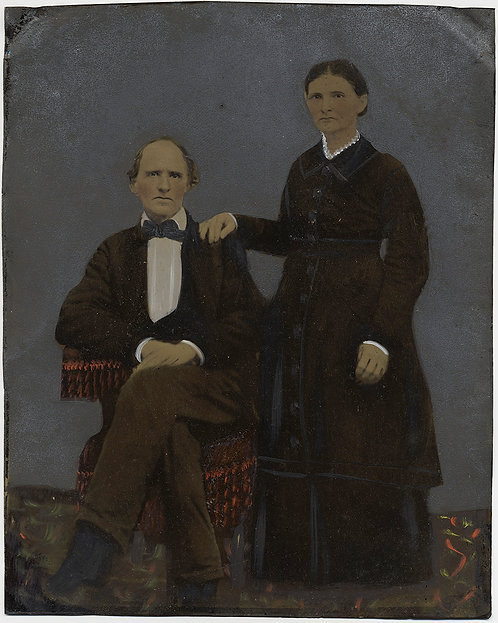 Painted Full Plate Tintype: SERIOUS COUPLE