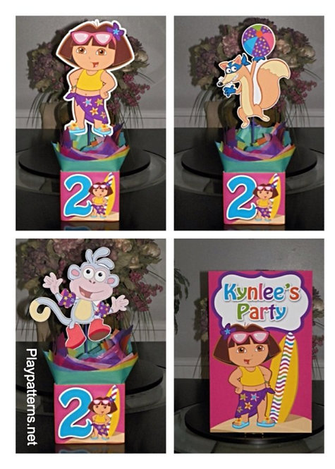 DORA EXPLORER BIRTHDAY PARTY CENTERPIECES BEACH SWIM