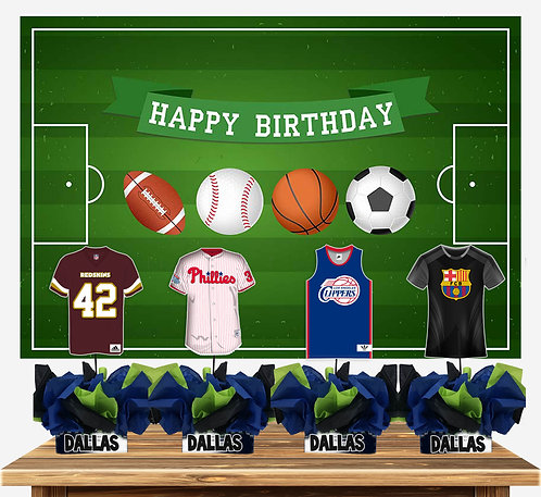 Sports Birthday Party Centerpieces soccer football baseball