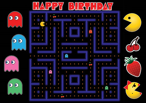 Pacman Birthday Party Banner Background Ms. Pacman