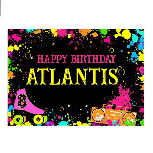 Roller Skate Birthday Party Glowing Banner