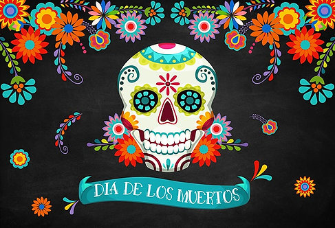 Day of the Dead Party Banner Sugar Skull Background Photography Prop Table